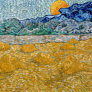Landscape With Wheat Sheaves And Rising Moon Poster
