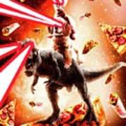 Laser Eyes Space Cat Riding Dog And Dinosaur Poster