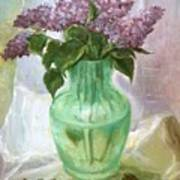 Lilacs In A Glass Vase Poster
