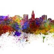 Lincoln Skyline In Watercolor Background Poster
