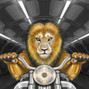 Lion On Motorcycle Poster