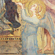 Maesta  Angel Offering Flowers To The Virgin Poster