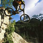 Man Jumping On His Mountain Bike Poster