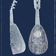 Mandolin Blue Musical Instrument Poster
