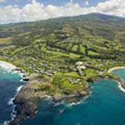 Maui Aerial Of Kapalua Poster by Ron Dahlquist - Printscapes