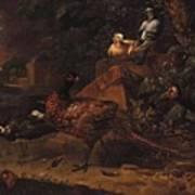 Melchior De Hondecoeter In The Manner Of The Artist, Wild Birds In A Park Landscape. Poster