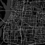 Memphis Tennessee Usa Dark Map Poster