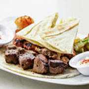 Middle Eastern Food Mixed Bbq Barbecue Grilled Meat Set Meal Poster