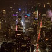 Midtown Manhattan Skyline Aerial At Night Poster