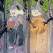 Mining Excavator On The Bottom Surface Mine.  Poster