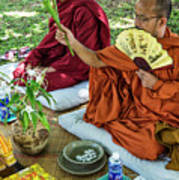 Monks Blessing Buddhist Wedding Ceremony In Cambodia Poster