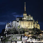 Mont St. Michel At Night Poster