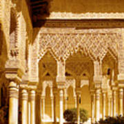 Moorish Architecture In The Nasrid Palaces At The Alhambra Granada Poster