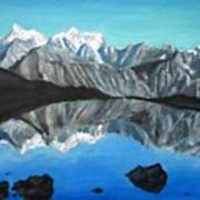 Mountains Landscape Acrylic Painting Poster