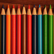 Multicolored Pencils In Rows Poster