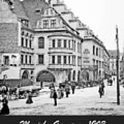 Munich, Germany, Street Scene, 1903, Vintage Photograph Poster