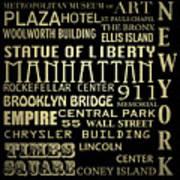 New York Famous Landmarks Silver Poster