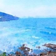 Ocean Coastline Watercolor Poster