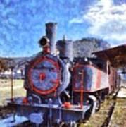 Old Steam Train In Nafplio Town Poster