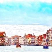 On A Boat Trip On The Grand Canal In The Beautiful City Of Venice In Italy Poster