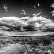 Panorama Of A Valley In Utah Desert With Blue Sky Poster