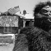 Patriotic Gorilla Pitchman July 4th Mattress Sale Tucson Arizona 1991 Poster