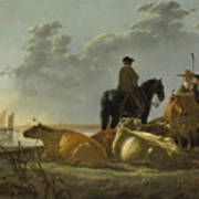 Peasants And Cattle By The River Merwede Poster