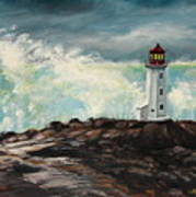 Peggy's Cove Lighthouse Hurricane Poster