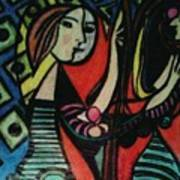 Picasso's Girl Beside A Mirror Poster