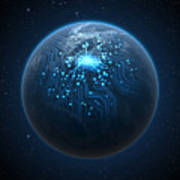 Planet With Illuminated Network Poster