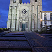 Porto Cathedral By Night In Portugal Poster