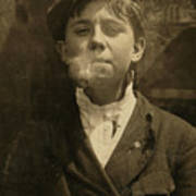 Portrait Of A Boy Smoking A Pipe Poster by Everett