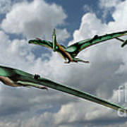 Pterodactyls In Flight Poster