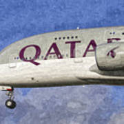 Qatar Airlines Airbus A380 Art Poster