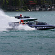 Racing Hydroplanes Boats On The Detroit River For Gold Cup Poster