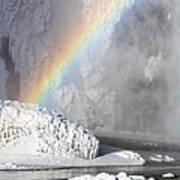 Rainbow Over Skogarfoss Waterfall Poster