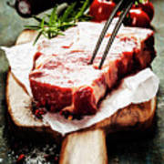 Raw Beef Steak And Wine Poster