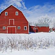 Red Barn, Winter, Grande Pointe Poster
