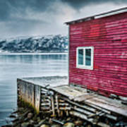 Red Boathouse In Norris Point, Newfoundland Poster