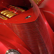 Red Classic Car Details Poster