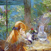Red-haired Girl Sitting On A Veranda Poster