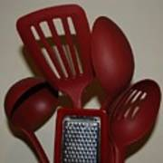 Red Kitchen Utencils Poster