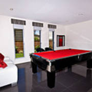 Red Pool Table Poster