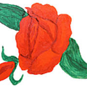 Red Rose, Oil Painting Poster