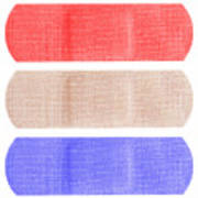 Red White And Blue Bandaids Poster by Blink Images