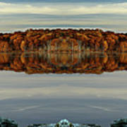 Mirrored Panoramic, Reflecting Fall  From The Banks Of  Bishop Pond Poster