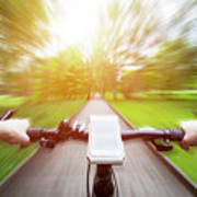 Riding A Bike First Person Perspective. Smartphone On Handlebar. Speed Motion Blur Poster