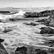 Rocky Asilomar Beach In Monterey Bay At Sunset. Poster