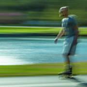 Rollerblading In Forest Park Poster