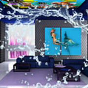 Rooftop Saltwater Fish Tank Art Poster